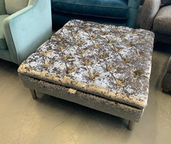 Large square storage footstool in silver lustrous crushed velvet fabric