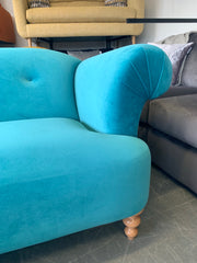 Buttercup large 3 Seater sprung seat button detail sofa in aqua blue velvet RRP £999