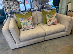Zenith large split 3 seater standard back sofa in biscuit weave fabric with accent cushions