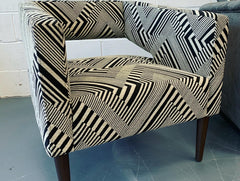 Pagoda accent armchair in monochrome fabric