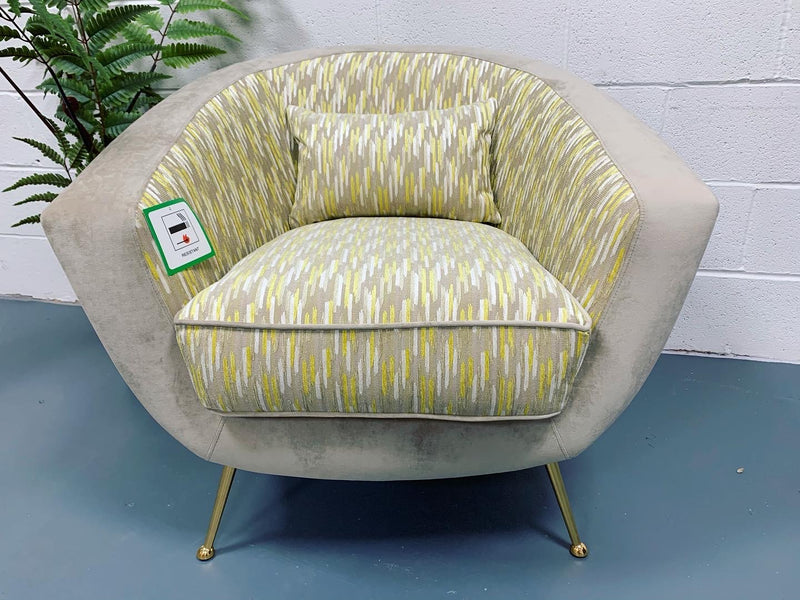 Bardot accent chair in mink and yellow fabric