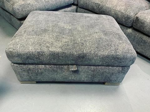 Nautical Large Left Facing Cushion back Corner Sofa & Storage Footstool in Grey Chenille Weave Fabric
