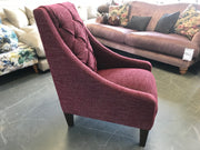 Clarence high button back accent chair in burgundy tweed fabric