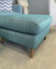 Cushioned top square footstool in teal blue weave fabric RRP £499