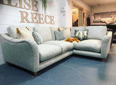 Bumpster right facing standard back corner sofa in natural jute style fabric RRP £3295