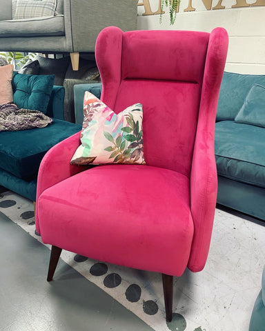 B - Hot Pink Velvet Fabric Wingback Accent Chair RRP £720
