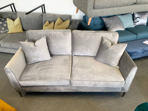 Enzo medium 2 seater sofa in silver grey velvet fabric RRP £1299