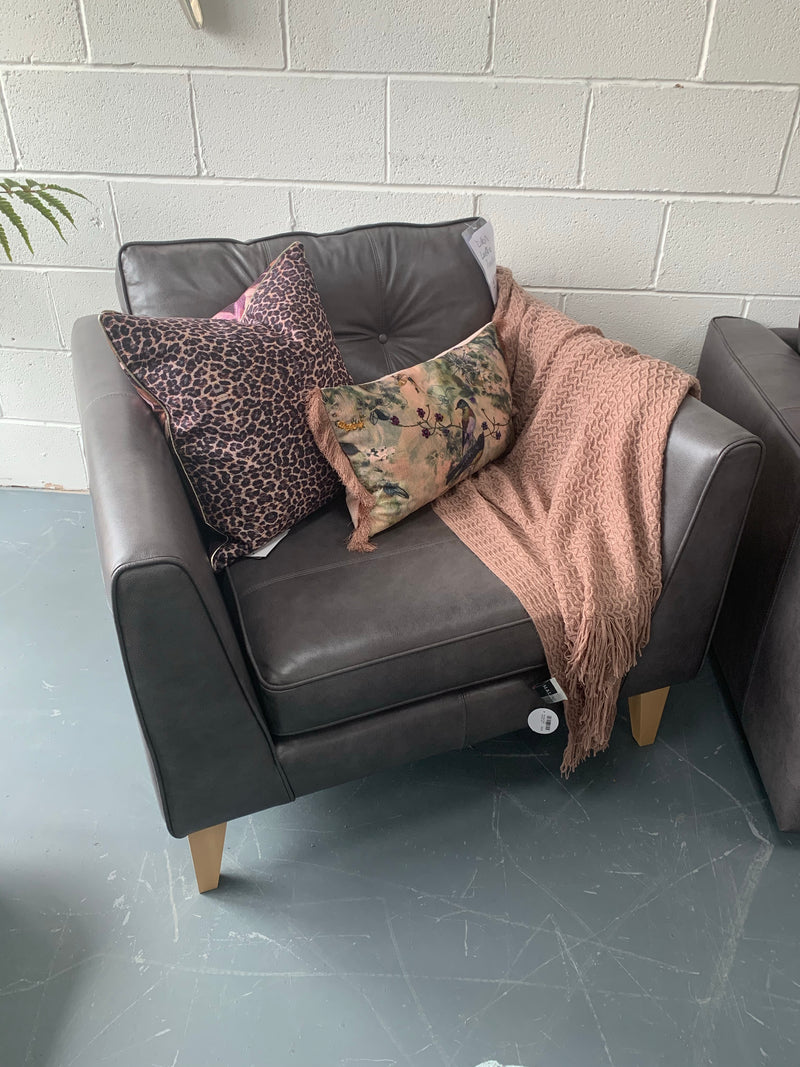 Dillon standard back large armchair in charcoal grey leather