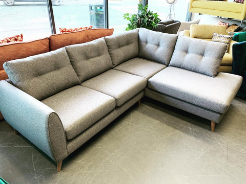 A - Enzo Grey Weave Fabric Right Hand Facing Corner Sofa RRP £1899