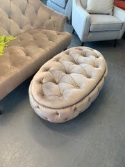 Jean oval deluxe button detail footstool in mink velvet fabric RRP £329