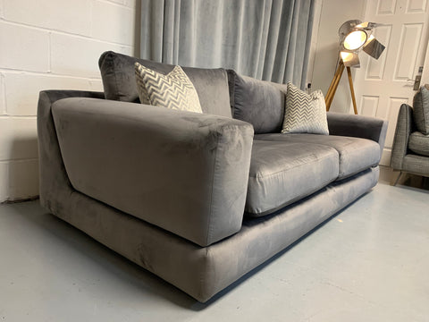 Hayden large 3 seater sofa in charcoal grey velvet fabric RRP £1799