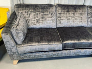 Charcoal Right Facing Cushion back Corner Sofa Textured Velvet Fabric
