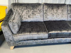 Vance Right Facing Cushion back Corner Sofa in Charcoal Textured Velvet Fabric