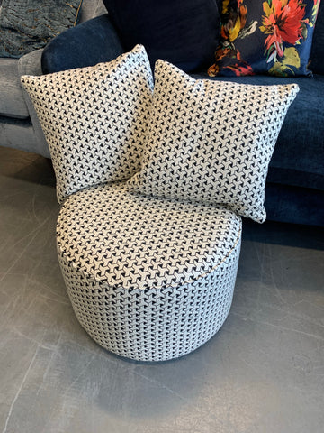 C - Monochrome Geo Print Round Footstool & 2 Matching Side Cushions