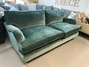 Alwinton 3 seater standard back sofa in green velvet fabric RRP £1599