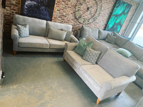 Arlo standard back 3 seater sofa in silver/light grey chenille fabric RRP £995