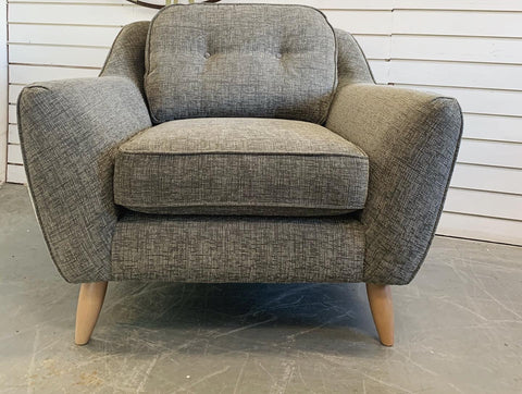B - Laurel Accent Armchair In Charcoal Grey Fabric RRP £899