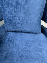 Turner swivel accent chair in blue velvet fabric
