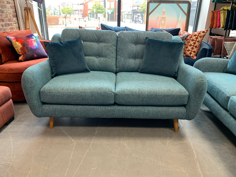 Camden by FC 2 seater standard back sofa in teal mix weave fabric
