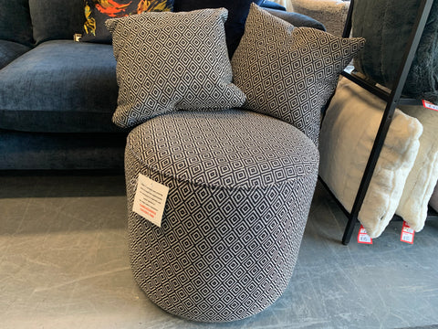 C - Charcoal Geo Print Round Footstool & 2 Matching Side Cushions