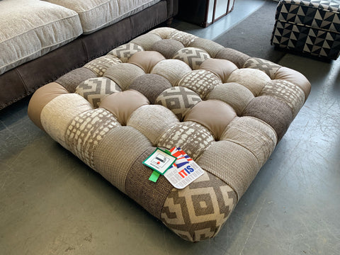 C - Large Square Button Top Footstool In Brown Multi Fabric RRP £599