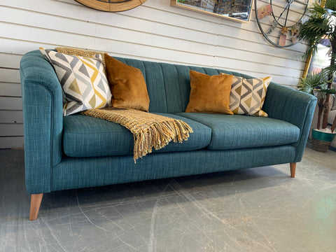 A - Ashley Manor Pimlico Teal Weave Fabric 3 Seater Sofa RRP £1075