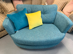 Sutton large curved loveseat in teal mix weave fabric RRP £1009