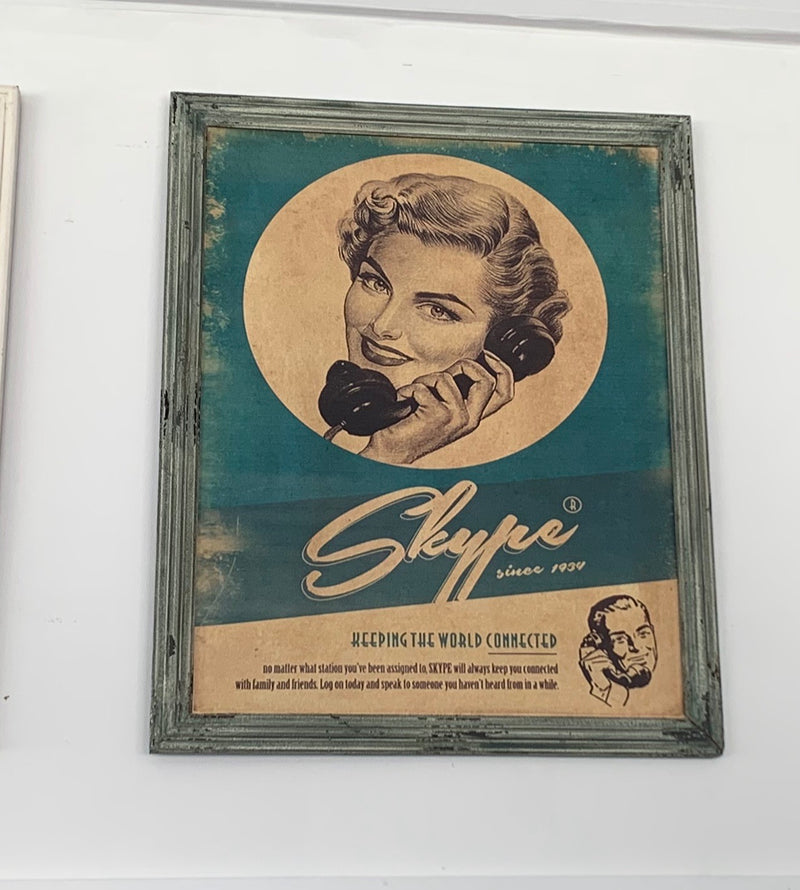 Vintage Skype call wall art