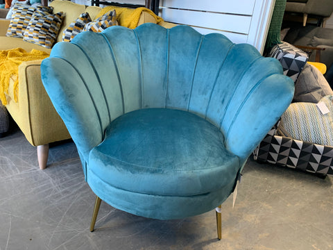 Octavia scallop back accent chair in peacock green velvet fabric