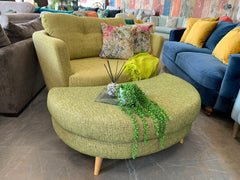 Sutton large curved loveseat in lime green mix weave fabric RRP £1009