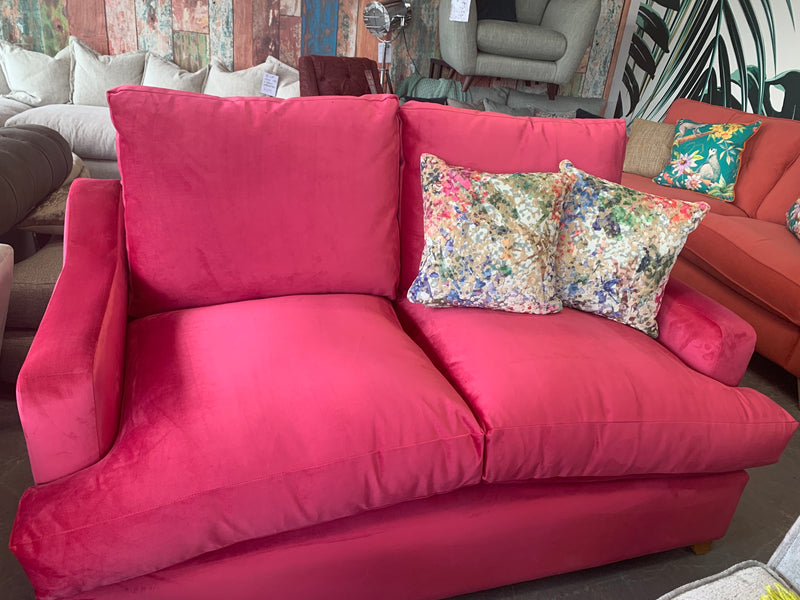 Atworth 2 seater high back sofa in fuchsia velvet fabric £1135