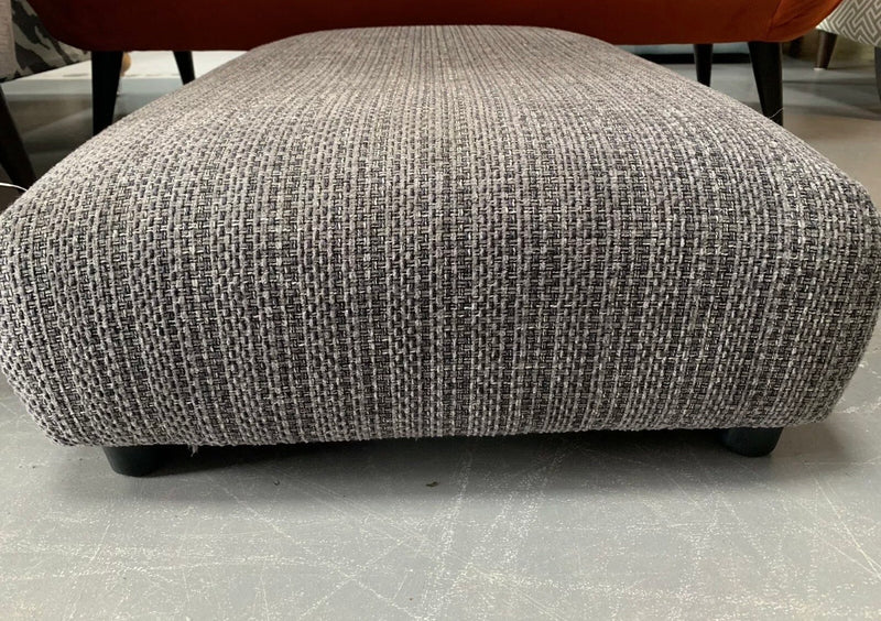 Dillon Cushioned top footstool in charcoal grey weave fabric RRP £279