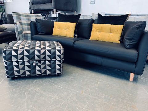 C - French Connection For DFS Zinc Storage Footstool In Grey / Black Geo Fabric RRP £309