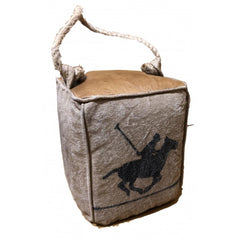Leather & Canvas Doorstop Polo Horse Design with Rope handles