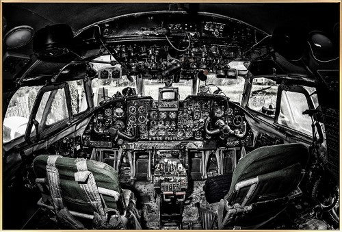 Black & White Cockpit glass print wall art