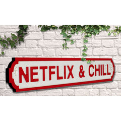 Wooden Road Sign - Netflix & Chill
