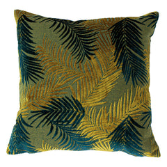 PALM GROVE CUSHION - GOLD/TEAL 50 X 50CM
