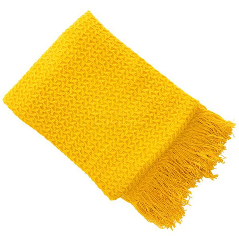 E - THROW - RHINE KNIT 130 X 180CM MUSTARD