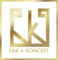 Gold logo for Uni+Koncept lifestyle boutique