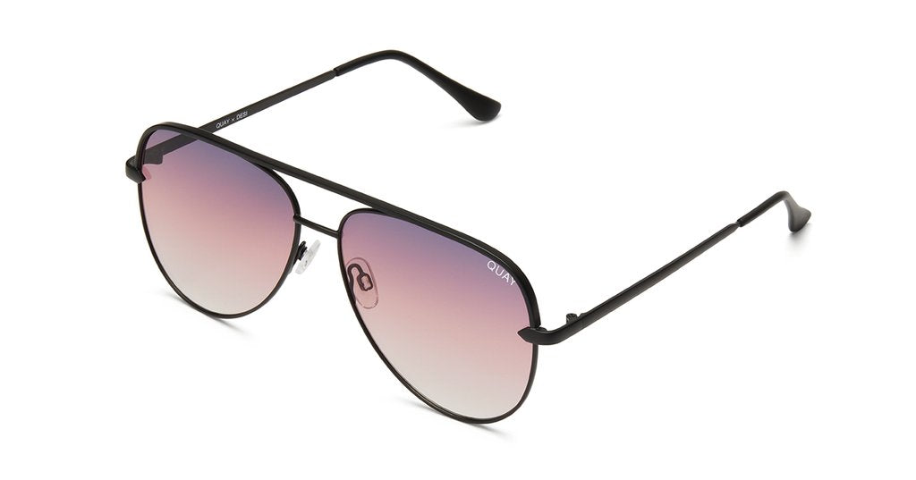Matte Black framed aviators with purple gradation on the lens.