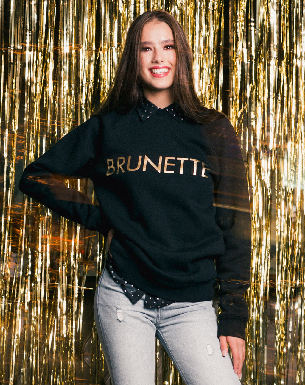 "Brunette The Label - ""Brunette"" Gold Foil Crew"