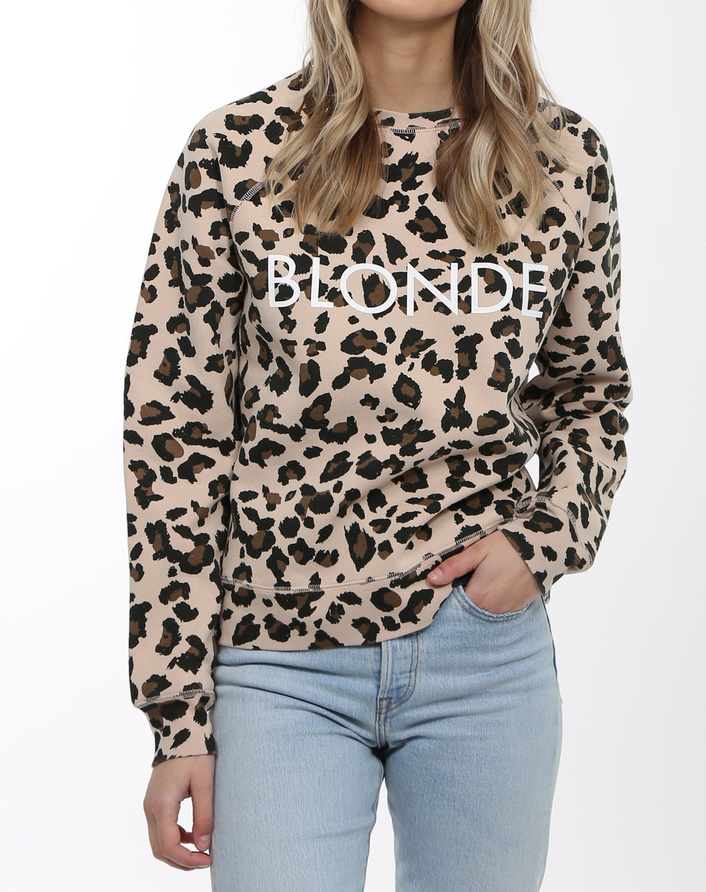 "Brunette The Label - ""Blonde"" Crew Sweatshirt Leopard"