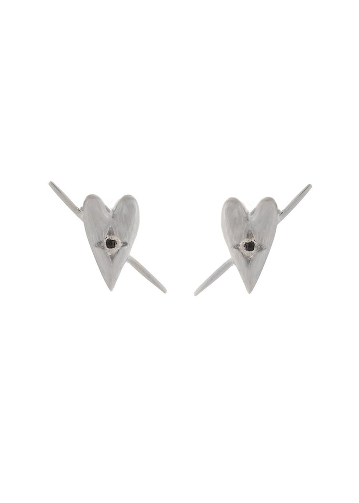 UNIKONCEPT Lifestyle boutique: image shows the Celeste Studs in silver onyx by Sarah Mulder. These heart shaped studs feature a small onyx stone in the centre