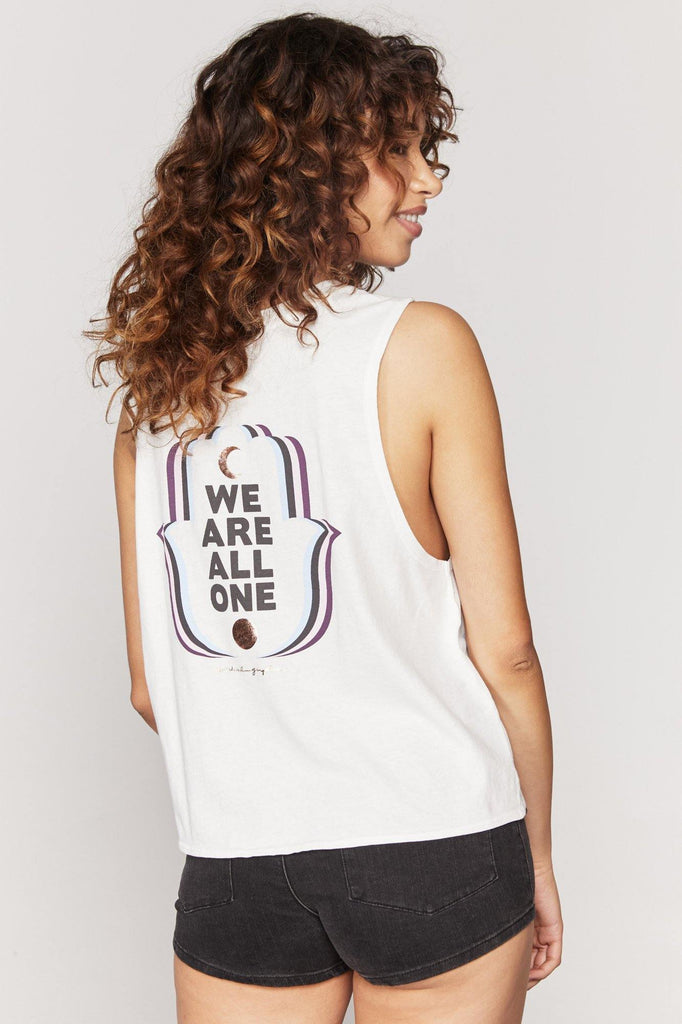 "UNIKONCEPT: Lifestyle boutique, The all one deep v neck Is a white v neck styled muscle tank by spiritual gangster. It features a small embroidered moon on the left side of the chest and a large logo in the back that states ""we are all one"". It is a cropped style tank top with a full back."