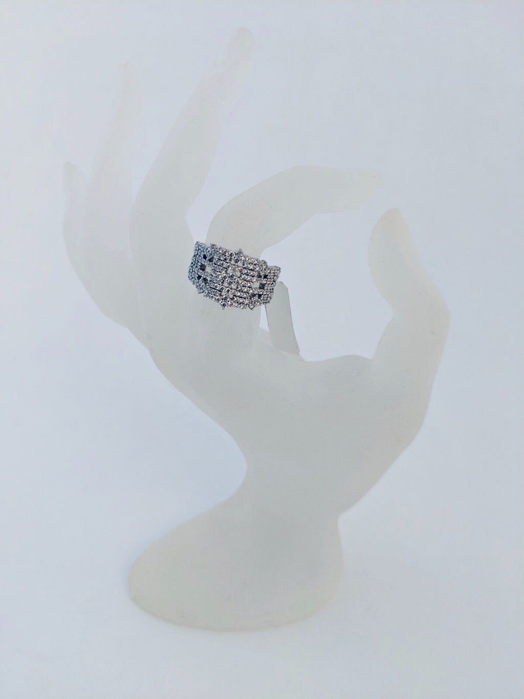 UNIKONCEPT Lifestyle boutique: Ring designed by Adamar that features clear crystals cluster with a sterling silver base