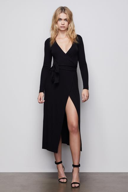 Good American - Run Around Wrap Dress (blk)