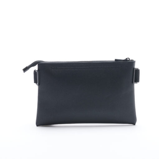 Black, faux leather crossbody bag with a removable strap and can be used as a clutch.
