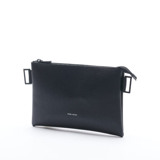 Black, faux leather pixie mood crossbody bag with a removable strap. The grace pouch in black can be used as a clutch.