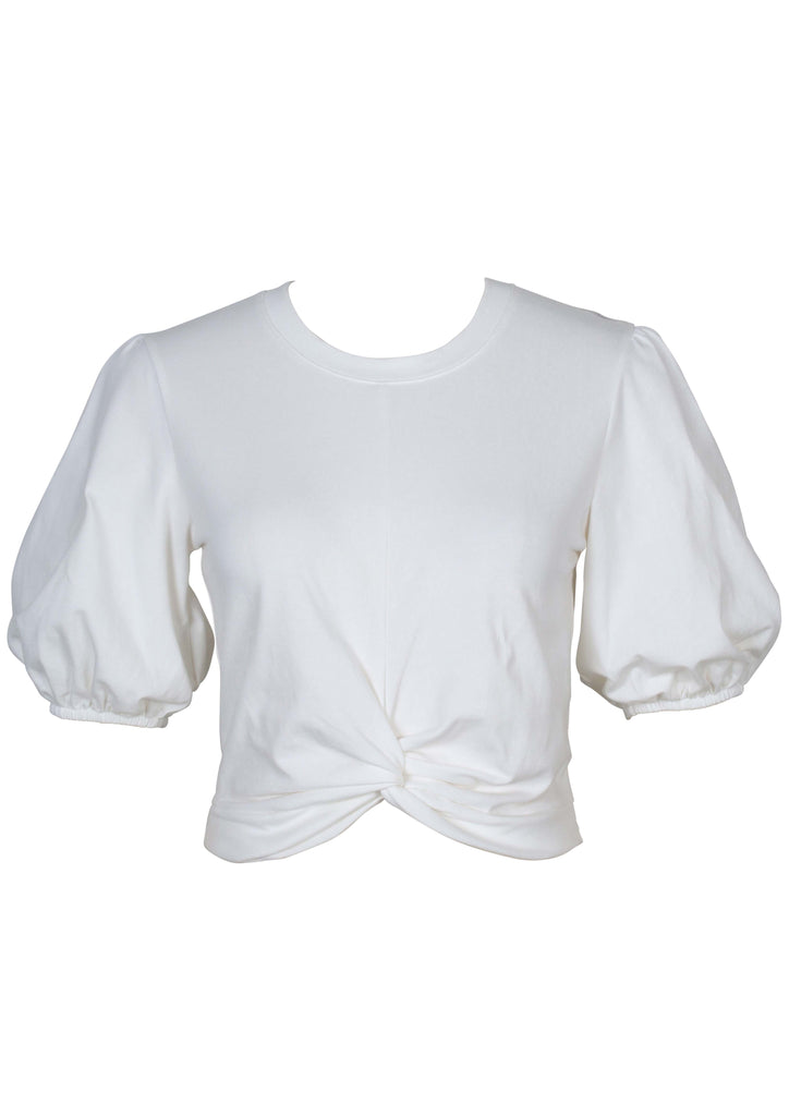 UNIKONCEPT Lifestyle boutique; image shows the Twist Front Puff Sleeve in white by MinkPink. This crew neck tee is slightly cropped with a twist knot detail in the front middle of the bottom hem. The sleeves are slightly puffed and are fitted at the hem to the arm