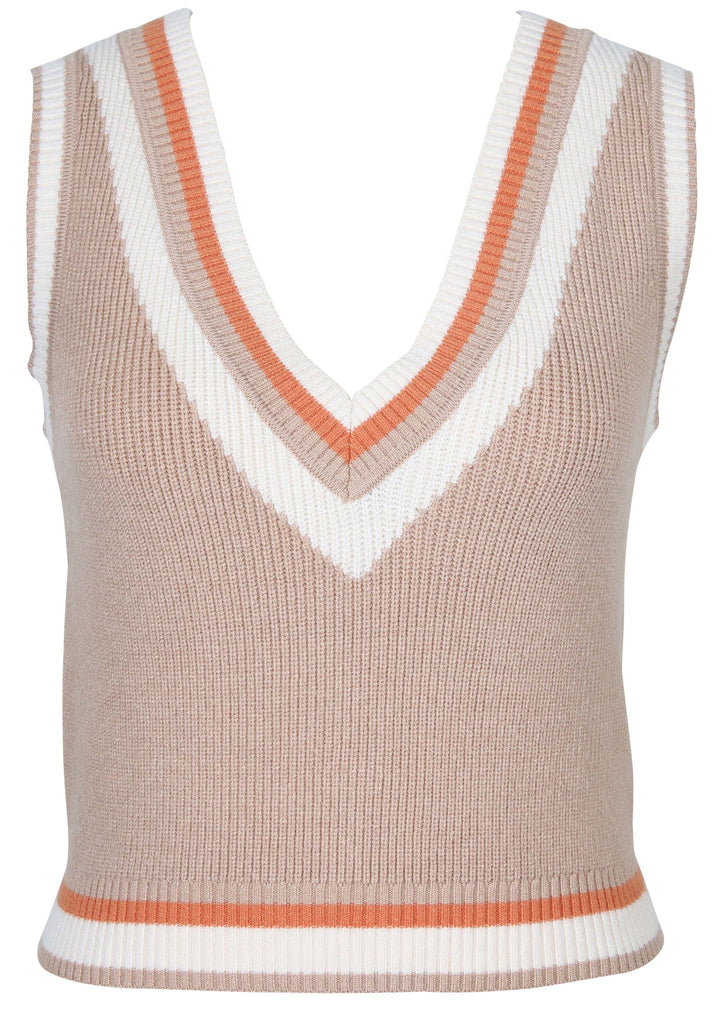 UNIKONCEPT Lifestyle boutique; image shows the Knit Vest Sweater by MinkPink. This classic sweater vest features a v-neckline which is outlined by white, red and light brown trim. The base colour of the sweater is a light brown with the bottom hem featuring the same coloured lines as the neck. The vest is a looser fit and meets the pantline.